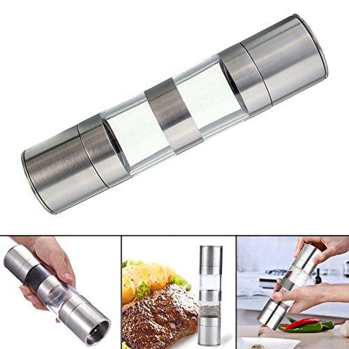 ZREAL 2-in-1 roestvrijstalen zoutpepper Grinder Dual Hand Spice Mill keukengereedschap