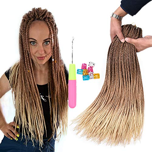 AliRobam 24Inch Box Braids Crochet Braids Braiding Hair Extensions 22Strands 6 Packs Ombre Synthetic Hair Honey Blonde 3S Box Crochet Braid Hair (3S box braids, DarkBrown-LightBrown-HoneyBlonde)