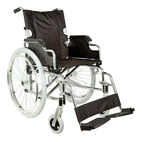 GIMA Carrozzina Royal, sedia a rotelle con seduta 46 cm, tessuto nero