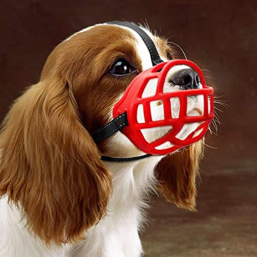 WEIJ Siliconen Mand Hond Muzzels, Ademend en Verstelbaar, Laat Drinken, Broeken en Eten, 4, Rood
