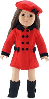 Emily Rose 18 Inch Doll Clothes | 3 Piece Lovely Red and Black Winter Coat Outfit, Includes Matching Hat and Black Boots | Fits American Girl Dolls