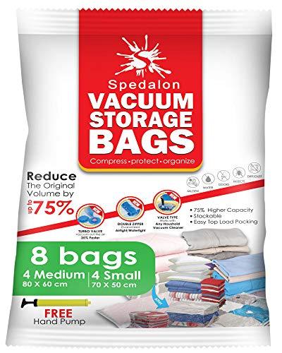Vakuumförvaringspåsar – paket med 8 (4 medium (80 x 60 cm) + 4 små (70 x 50 cm) – Spara utrymme för sängkläder, täcken, kläder | Återanvändbar med gratis handpump för reseförpackning