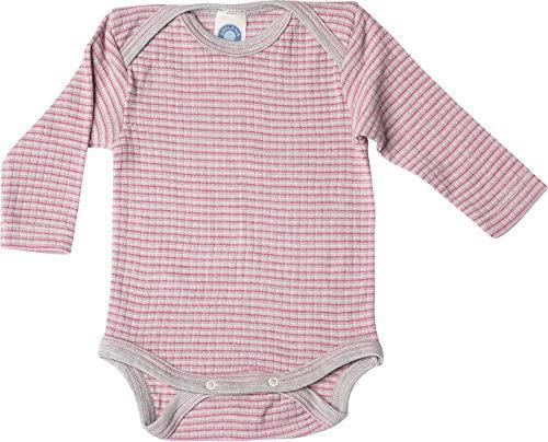 Cosilana, Baby Body Langarm,45% KBA Baumwolle, 35% kbT Wolle, 20% Seide (74/80, Grau/Pink/Natur)