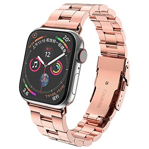 Compatibile per Apple Watch Cinturino 44mm 42mm 40mm 38mm, Doppia Fibbia di Sicurezza in Acciaio Inossidabile Compatible per Apple Watch Serie 6 se 5 4 3 2 1(38 / 40mm, Rose Gold)
