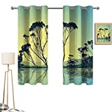 Xldavier Haro White Curtains 52'x72' Apartment Decor,Crystal Tree Silhouettes with Reflections in The Water National Park Countyside Print,Blue Yellow for Basement Window Glass Door
