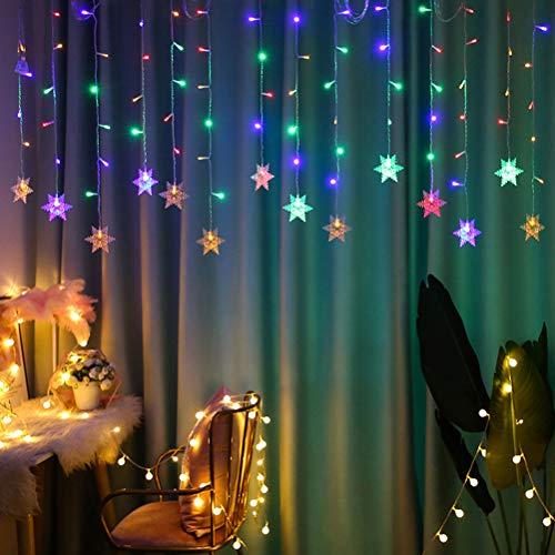 HEITIGN Luces de Cadena de Cortina de Copo de Nieve de 4M, Luces De Cortina Copo De Nieve De Navidad LED, Luces De Hadas De Copos Nieve, 8 Modos De Luces De Cadena Impermeables Para Ventana De Navidad