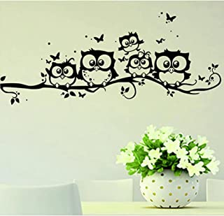 Cartoon Cute Owl on Tree Wall Sticker Living Room Background Animals Art Decals for Kids Room Decorations Removable Stickers