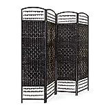 Relaxdays Biombo Divisor/Separador de Habitaciones, 179 x 180 x 2 cm, 4 Paneles, Madera con puntales de bambú, Color Negro