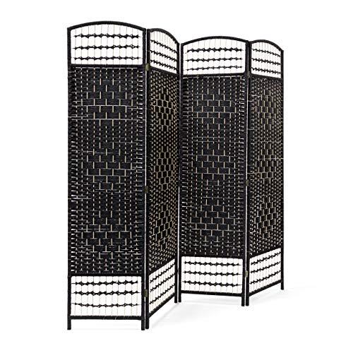 Relaxdays Paravent H x B x T: 179 x 180 x 2 cm faltbarer Raumteiler und Spanische Wand mit Streben aus Bambus als Sichtschutz bestehend aus 4 Elementen als blickdichter Raumtrenner aus Holz, schwarz