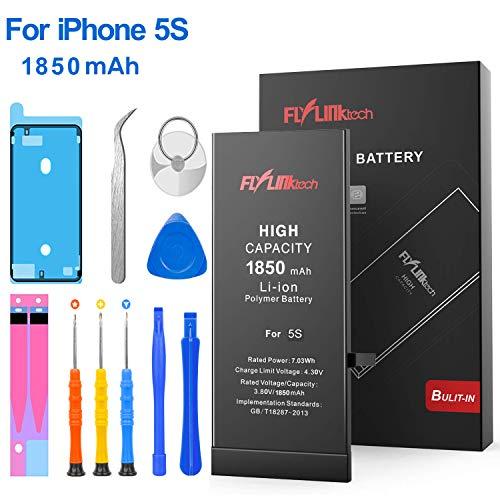 FLYLINKTECH Batteria per iPhone 5S Alta Capacità 1850mAh Batteria Interna di Ricambio in Li-ion, Strumenti di Riparazione Professionale Completi con Kit Sostituzione, Cacciavite Strumenti e Adesivo