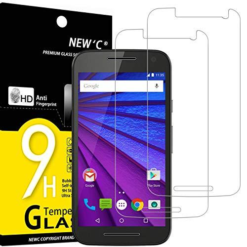 NEW'C 2 Stück, PanzerglasFolie Schutzfolie für Motorola Moto G (3E Gen.), Frei von Kratzern Fingabdrücken & Öl, 9H Festigkeit, HD Bildschirmschutzfolie, 0.33mm Ultra-klar, Ultrawiderstandsfähig