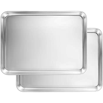 Amazon Com Small Baking Sheets Pans Heahysi Mini Stainless Steel Cookie Sheets Toaster Oven Tray Pan Non Toxic Healthy Superior Mirror Finish Easy Clean Dishwasher Safe 10 4 X 8 X