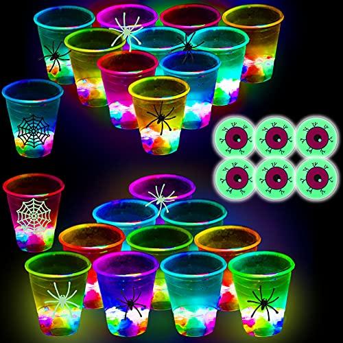 (Flash Color) The Halloween Glow in The Dark Beer Pong Set-Light up...