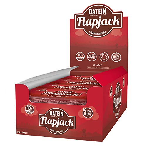 Oatein Protein Flapjack (Pack of 40 x 40g) - Cherry Bakewell High Protein, Low Sugar, Vegetarian flapjack, Packed with Oats