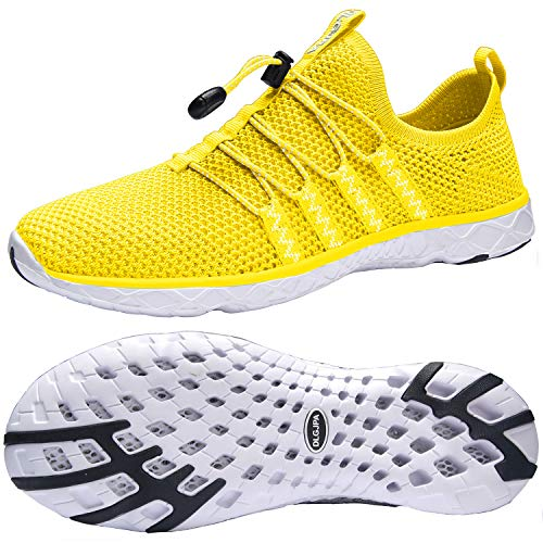 DLGJPA Men's Quick Drying Water Shoes for Beach or Water Sports Lightweight Slip On Walking Shoes Yellow