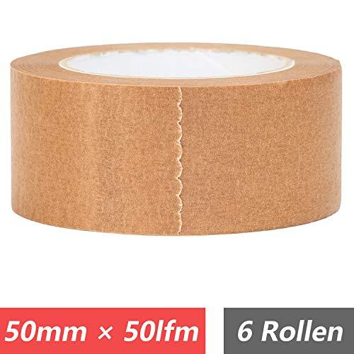 Papierklebeband 50 mm × 50 lfm, leise abrollend, 100% Recyclebares Klebeband, braun, 6 Roll.