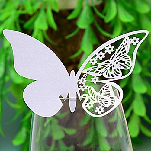 Desconocido Tarjetas Decorativas troqueladas para Copas, mesas y Souvenir, diseño de Mariposa, Color Blanco,...