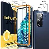[2+3 Pack] UniqueMe Compatible con Samsung Galaxy S20 FE 4G / 5G (No S20) Protector de Pantalla y Protector de Lente de cámara, Vidrio Templado [9H Dureza] [Marco de Alineación] HD Film