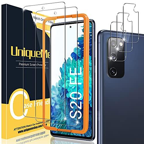 UniqueMe [2+3 Pack] Compatible con Samsung Galaxy S20 FE 4G / 5G (No S20) Protector de Pantalla y Protector de Lente de cámara, Vidrio Templado [9H Dureza] [Marco de Alineación] HD Film