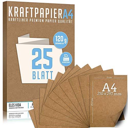 25 Blatt Kraftpapier A4 Set - 120 g - 21 x 29,7 cm - DIN Format - Bastelpapier & Naturkarton Pappe Blätter aus Kraftkarton zum Drucken, Kartonpapier Basteln für Vintage Hochzeit Geschenke Etiketten