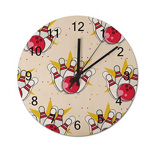 Free Brand Clocks 30,5 cm Roter Apfel und Bowlingkugel Holz-Wanduhr nicht tickend hängende Uhr rund für Geschenk Home Office Kinderzimmer Wohnzimmer Schlafzimmer