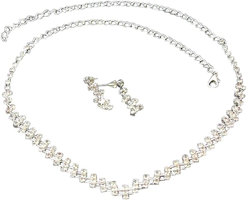 Huangyong Rhinestones Necklace Earrings Jewelry Sets for Bridal Wedding Party