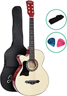 38 Inch Left Handed Guitar Wooden Acoustic Guitar Left Hand with Picks Strap Carry Bag - ALPHA