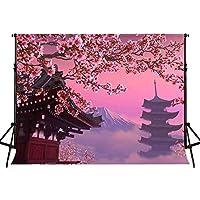 GooEoo 10x7ft 咲く桃の花伝統的な東洋建築写真背景誕生日パーティーバナースタジオ小道具家族パーティー誕生日背景ベビーシャワーの装飾ビニール素材