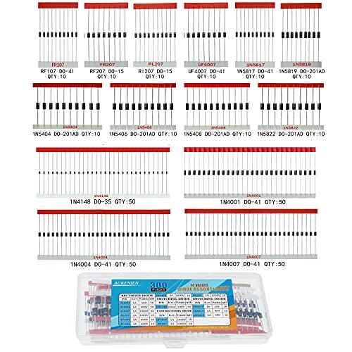AUKENIEN 14 Wert 300 Stück Dioden Sortiment Kit Gleichrichter Schalt Schalter Schottky Diode Set 1N4148 1n4001 1N4004 1N4007 1N5404 1N5406 1N5408 1N5817 1N5819 1N5822 FR107 FR207 RL207 UF4007