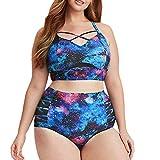Kaicran Women's Criss Cross Swimsuit Two Piece Plus Size Galaxy Print Push Up Bikini Set High Waist (Blue, XXL)