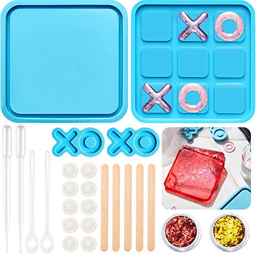 Tic Tac Toe Game Board with XO Silicone Mold Family Board Game Resin Mold and Dropper, Wooden...