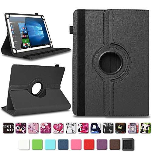 NAUC Tablet Schutzhülle kompatibel für TrekStor SurfTab Breeze 9.6 Hülle Tasche aus Kunstleder Standfunktion 360° Drehbar Cover Universal Hülle, Farben:Schwarz