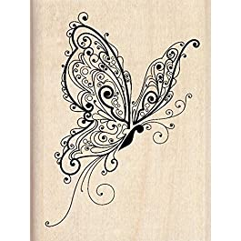 """Inkadinkado Patterned Butterfly Wood Stamp for Scrapbooking, 2.25"""" W x 3"""" L"""
