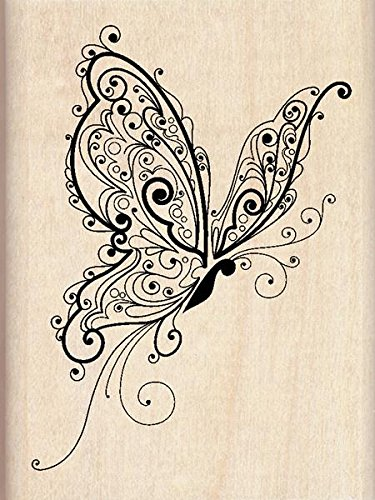 Inkadinkado Patterned Butterfly Wood Stamp for Scrapbooking, 2.25'' W x 3'' L