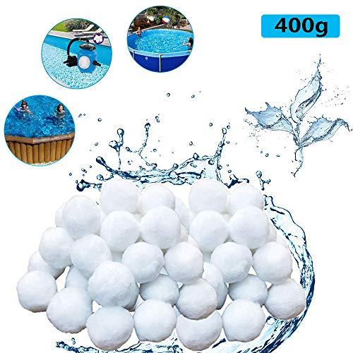 OMZGXGOD Filter Balls, 400g Filterbälle Filtermaterial, Filterbälle für Pool, Schwimmbad, Filterpumpe, Aquarium Sandfilter (400g, Weiß)
