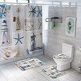 Juego de 4 cortinas de ducha Alician con alfombras antideslizantes para tapa de inodoro, alfombrilla de baño, diseño de estrella de mar