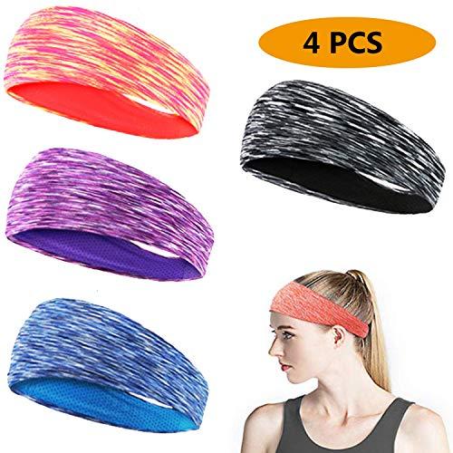 EPCHOO Elastische Sport Stirnbänder, 4 Pack Mode Haare Stirnbänder Schweißband Stirnband Anti Rutsch für Laufen, Jogging, Wandern, Fahrradhelm und Yoga, Sport Stirnband für Herren und Damen
