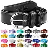 Falari Women Genuine Leather Belt Fashion Dress Belt With Single Prong Buckle 6028-Black-M