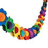 Fun Express - Multicolor Tissue Flower Garland for Party - Party Decor - Hanging Decor - Garland - Party - 1 Piece