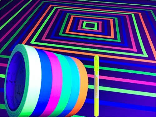 GreyParrot Tape UV Tape Blacklight Reactive, (6 Pack), (6 Colors), 1/2inx33ft Per Roll, Fluorescent Cloth Tape, Glow in The Dark Tape Under UV Black Light + 1 Pack Highlighter Pen