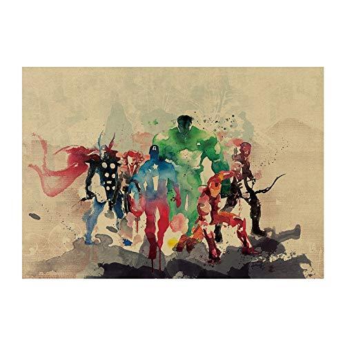 Acuarelas Hero Movie/Marvel Comics Hero Set/Papel Kraft/Bar Poster/Pegatinas De Pared/Cartel Retro/Pintura Decorativa 51X35.5Cm