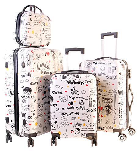 Hartschalenkoffer mit Motiv Trolley Koffer Reisekoffer TSA-Schloss mit Zwillingsrollen (LovingHeart, vierteilig)