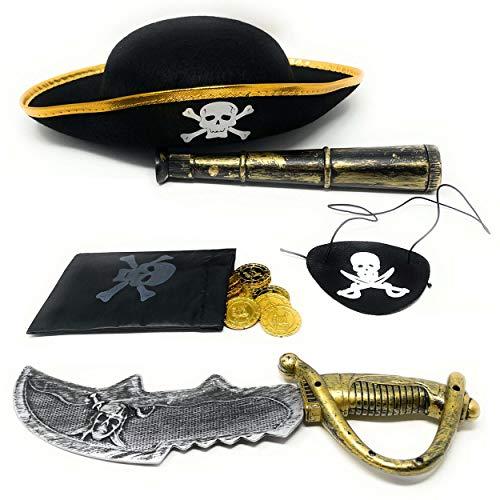 DDS Piraten Set Kinder 6 teilig - Piratenset mit Piratenhut Fernrohr Augenklappe Schwert Goldmünzen Schatzbeutel - Pirat Verkleidung zur Piratenparty & Fasching - Schatzsuche zum Kindergeburtstag