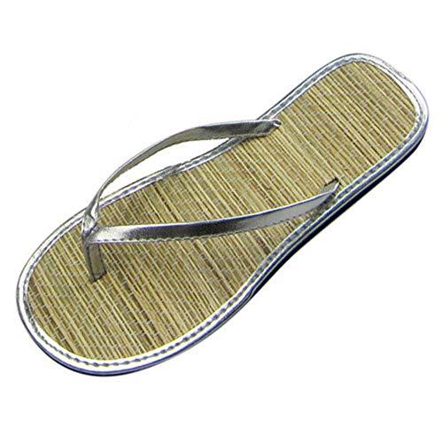 Amea Frauen Hausschuhe, Silent Bambus Rattan Flat Flip Flops, Clip Toe Auf Stroh Low Heels, rutschfeste Sandalen Slip FüR Paare, Sweet Beach,Silber,39