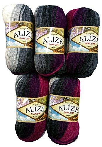 5 x 100 Gramm Alize Burcum Batik Wolle beere lila schwarz grau weiss mit Farbverlauf, Nr. 4202, 500 Gramm Strickwolle