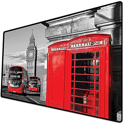 Alfombrilla de ratón (600x300x3 mm) Londres, Londres, Cabina telefónica en la Calle Tradicional Icono Cultural Local Inglaterra Retro Superficie Suave y cómoda de la Alfombrilla de ratón para Juegos
