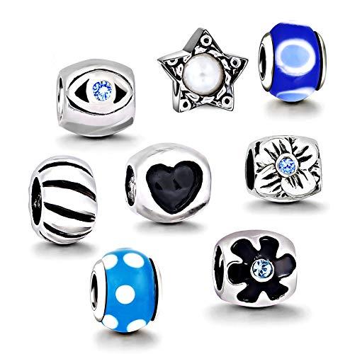 AKKi jewelry Charms Set 8 Anhänger Starter Set Angebot,Edelstahl Zirkonia Glas Beads Silber Original Perlen Elements,Kompatibel mit Pandora Style Schmuck Herz
