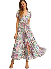 Material:70% Rayon and spandex 30% the material is skin friendly, it is lightweight and soft but not sheer A Line Buttons Up Flowy Split V-Neck, Short Sleeve,Floral Print,Maxi,Boho Suitable for spring, summer, autumn, casual, wedding, guest, holiday,...