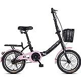 Bicicletas plegables de 16 ', adultos, hombres, mujeres, bicicletas ligeras plegables, acero con alto contenido de carbono, cuadro reforzado de una sola velocidad, bicicletas de montaña para viajeros