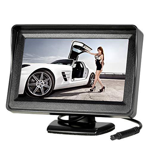 KKmoon auto achteruitrijcamera parkeerhulp met 4,3 inch TFT LCD-monitor 170 ° groothoek IP67/68 waterdichte camera nachtzicht voor auto, bus, schoolbus, aanhanger